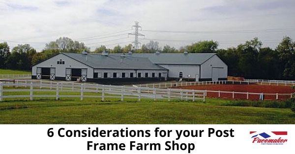 Post frame farm shop, barn and outdoor corral.