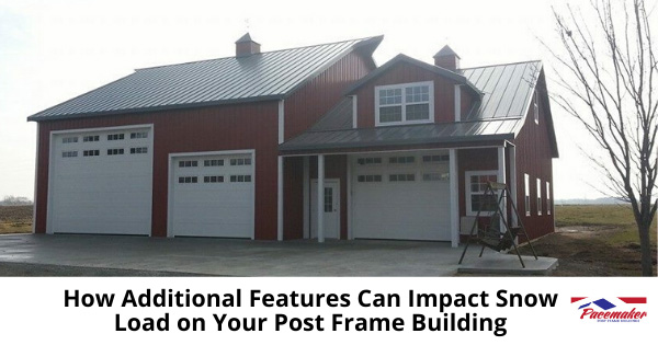 Red and White Post Frame home with dormer