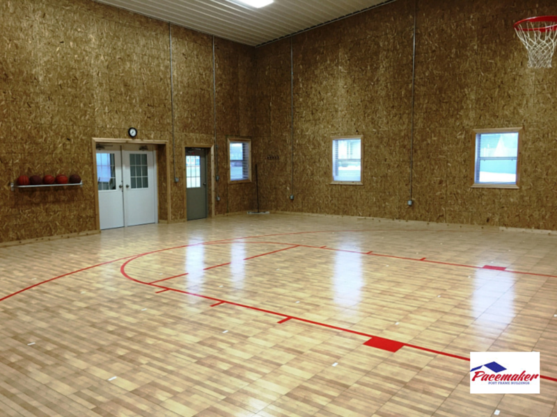 Non commercial uses for a post frame building for Building a basketball gym