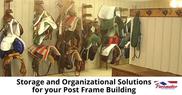 Horse saddles hanging in a well organized post frame building tack room.