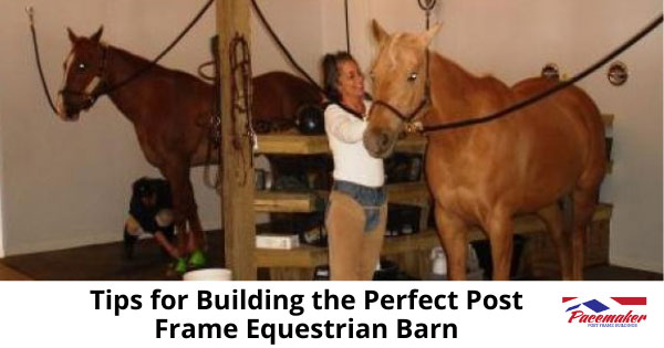 Woman grooming a horse in a post frame equestrian barn.