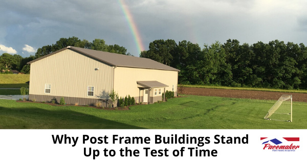 Post Frame building standing the test of time with rainbow in the sky.